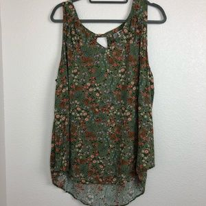Old navy green floral sleeveless blouse keyhole